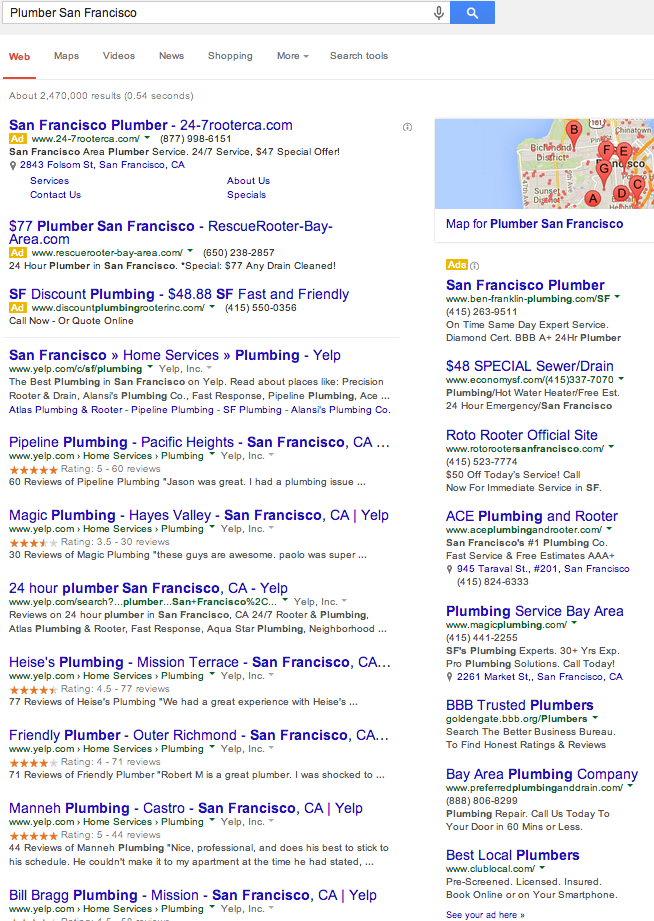 Google San Francisco Plumber Search