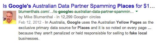 Is Google's Australian Data Partner Spamming Places for $11.00?