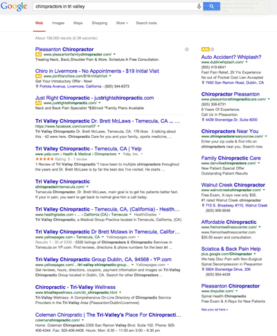 Google Search Tri Valley Chiropractor